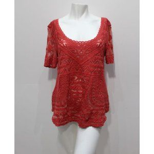 Anthropologie Deletta scoop neck rouge lace top M